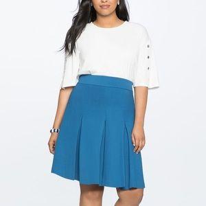 NWT ELOQUII Blue Pleated A-Line Skirt SZ 22